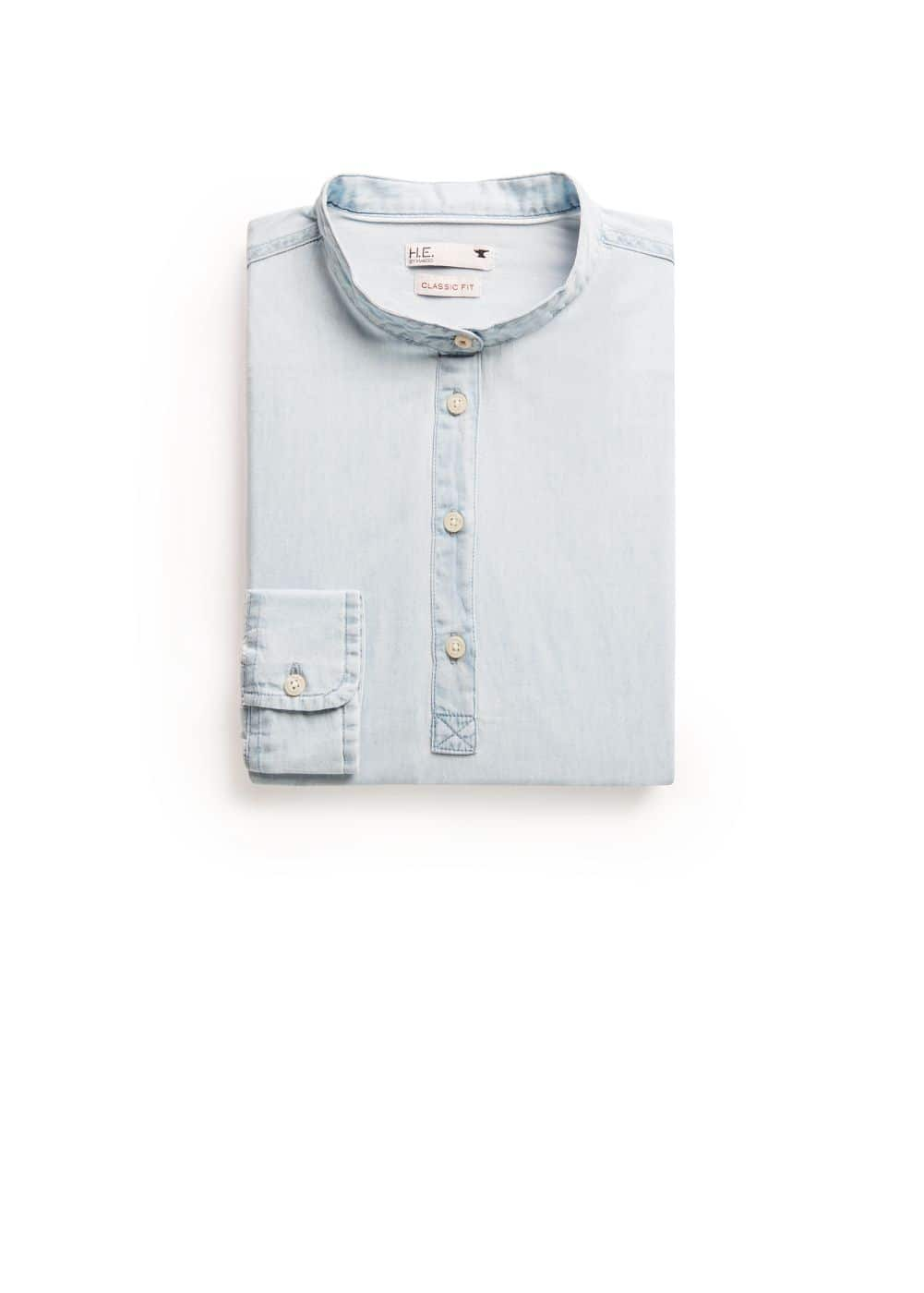 Chemise classic-fit chambray col mao | MANGO MAN