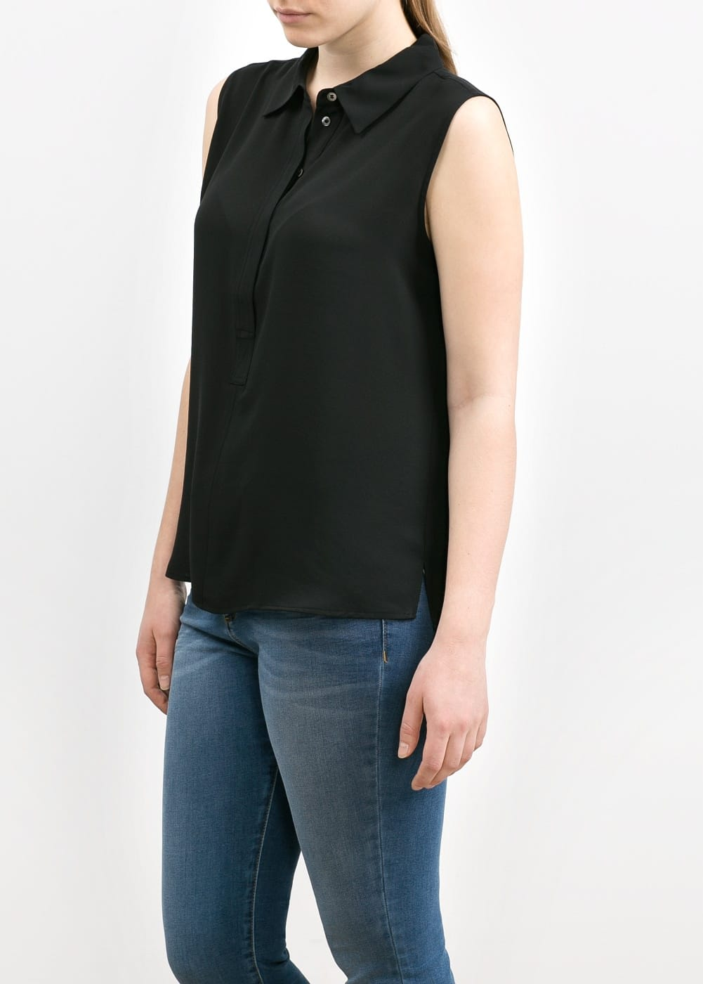 Polo shirt-placket blouse