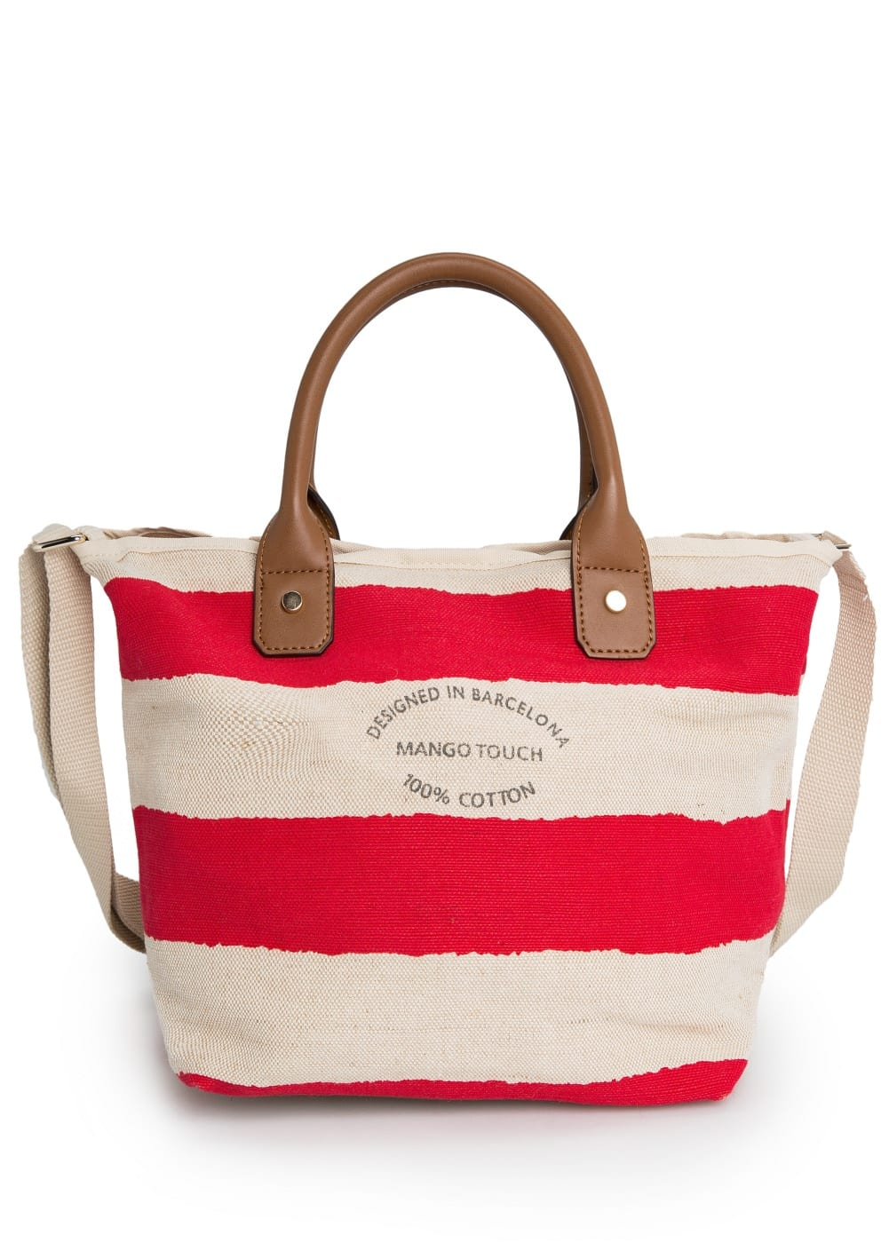 Striped jute-blend bag
