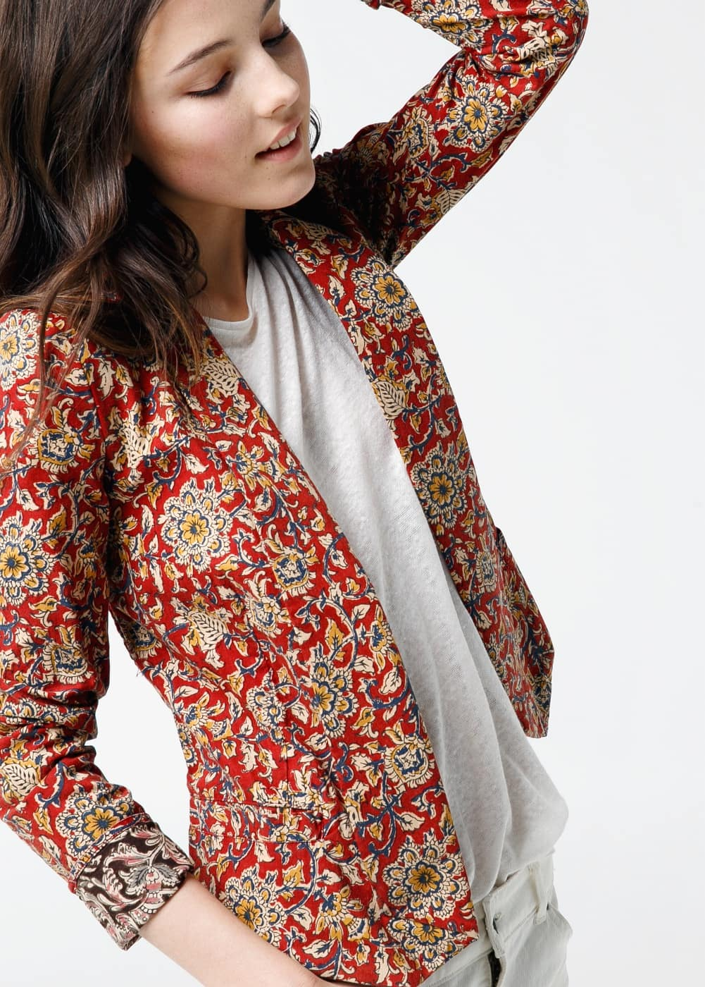 Open-front printed blazer