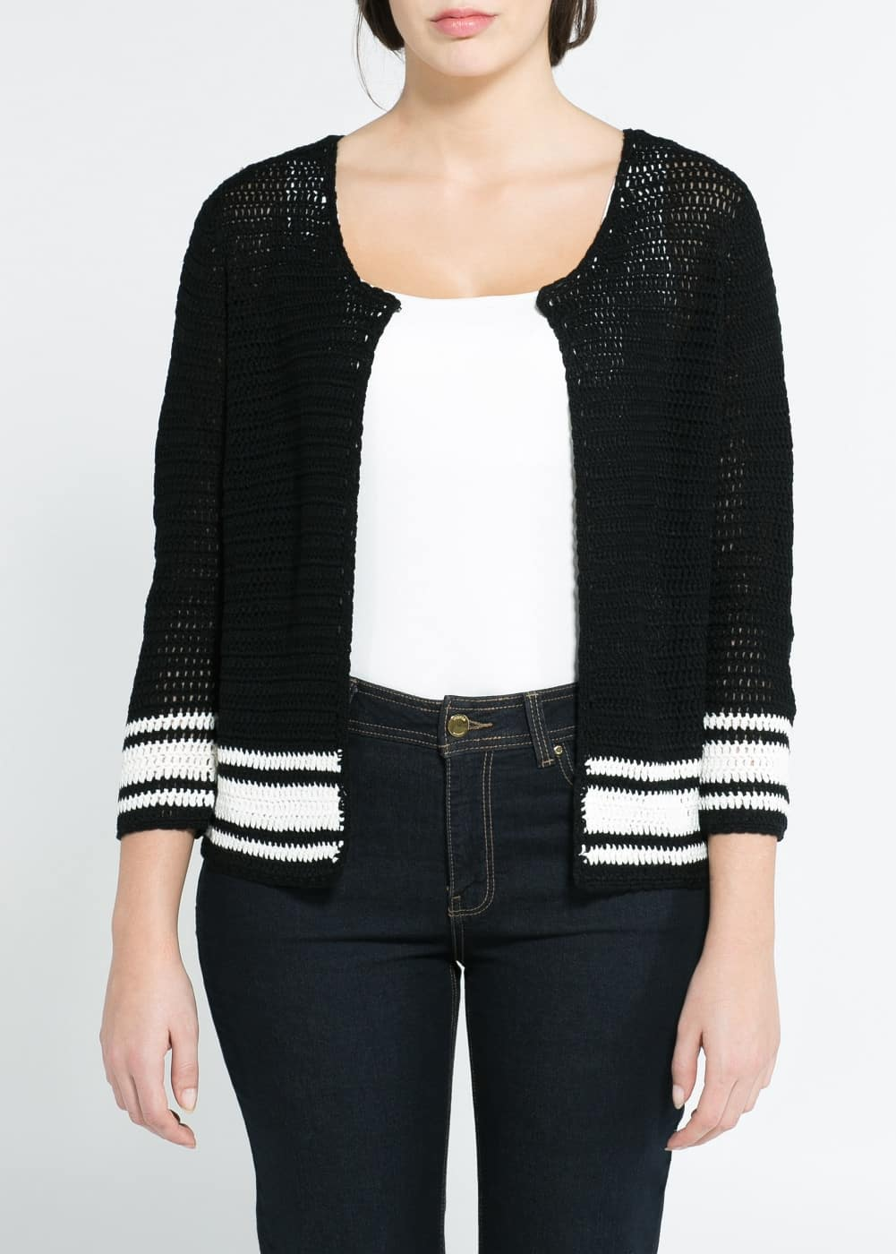 Striped openwork cardigan | MANGO