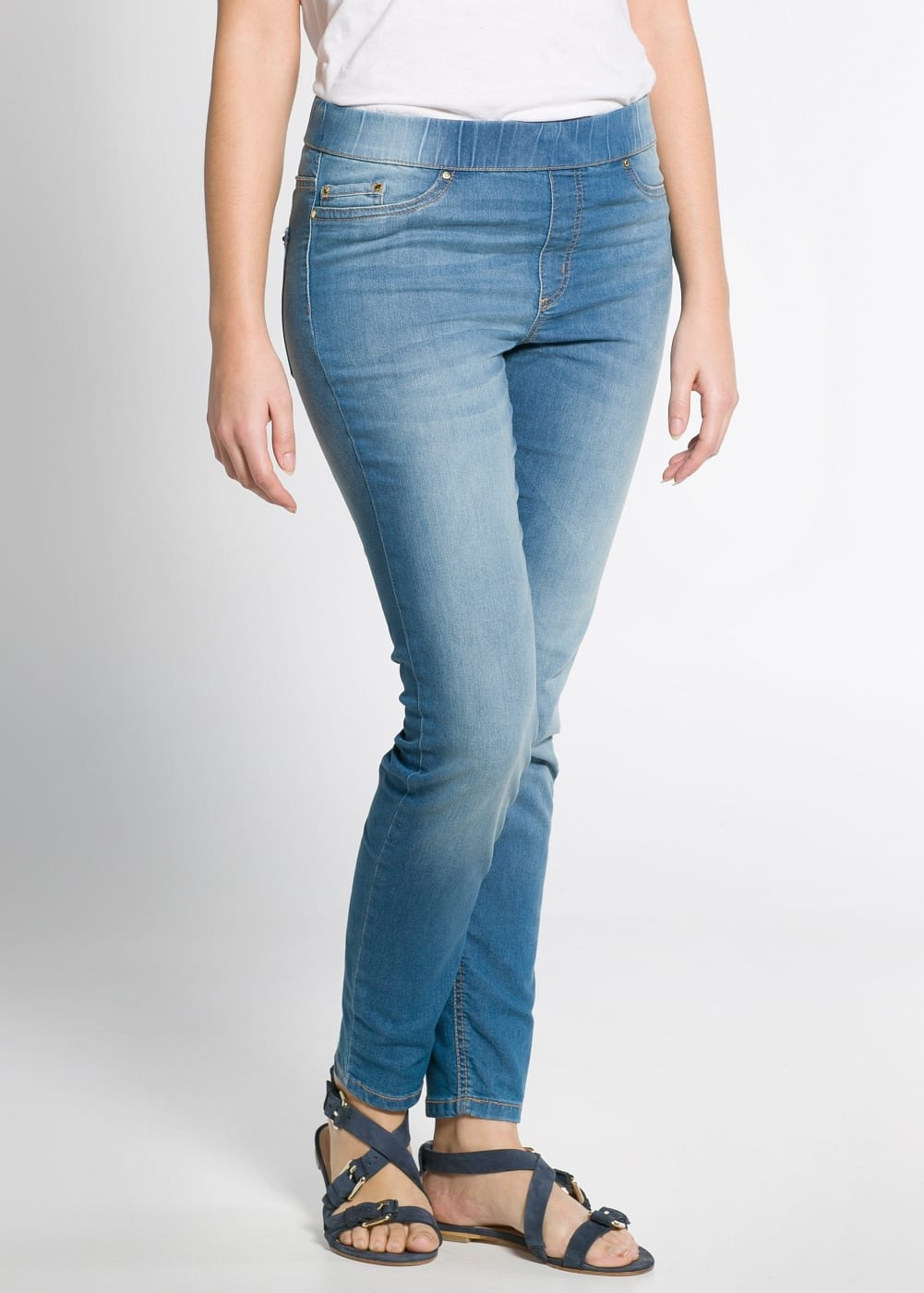 Medium wash jeggings | MANGO