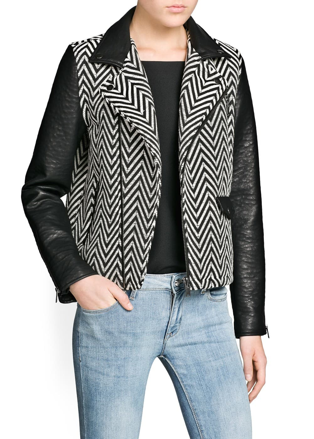 Faux leather detail herringbone jacket | MANGO