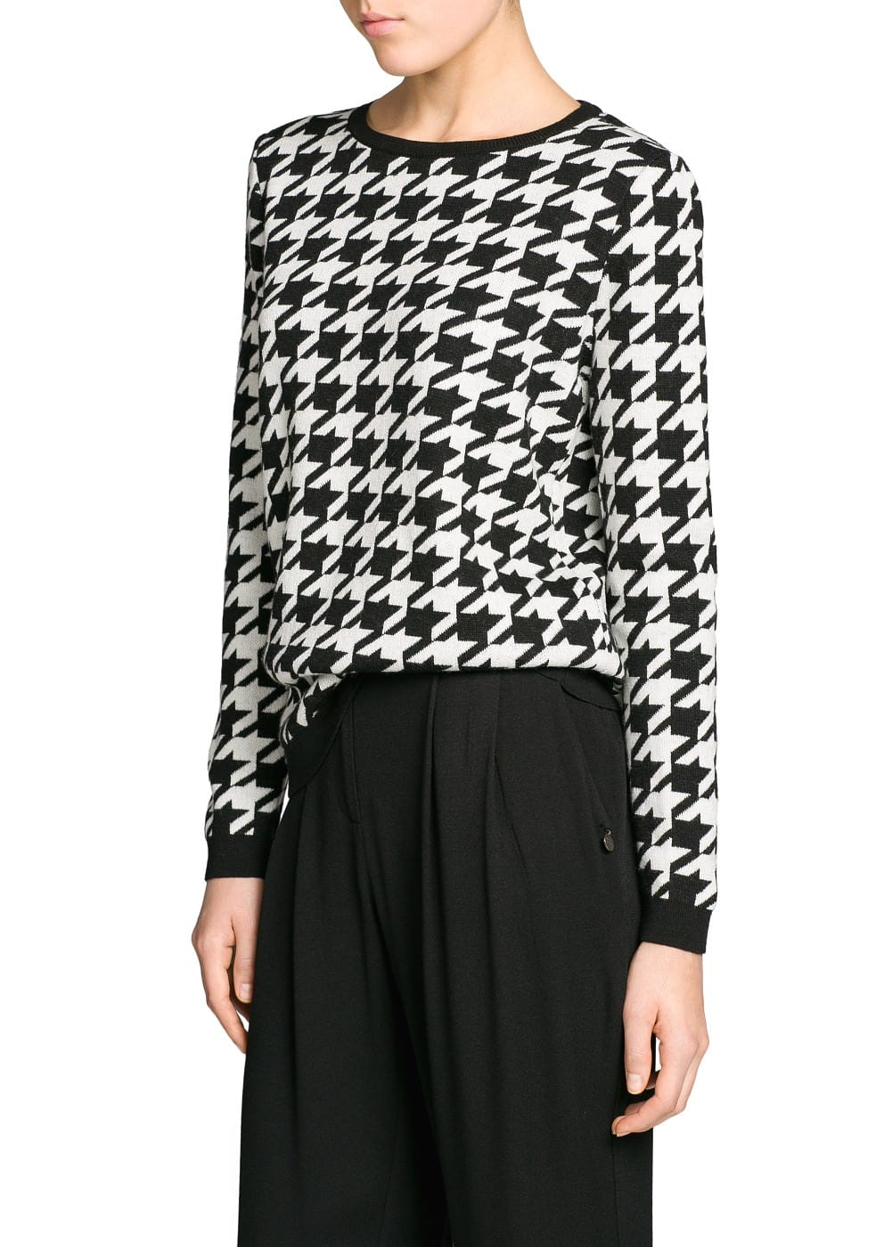 Houndstooth wool-blend sweater | MANGO
