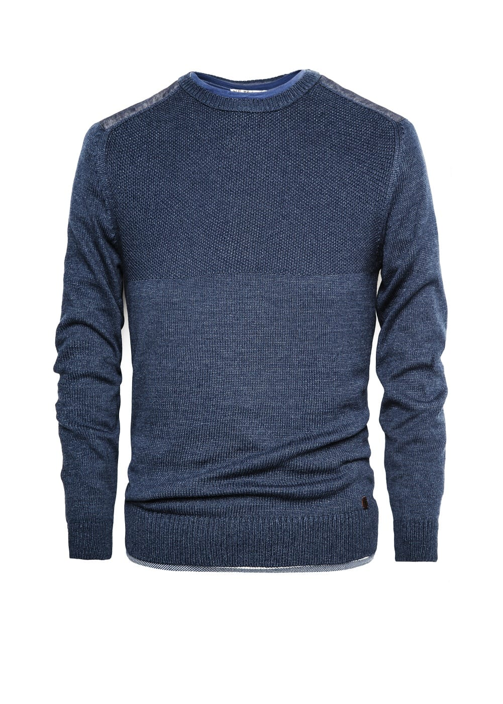 Chambray shoulder cotton sweater | MANGO MAN