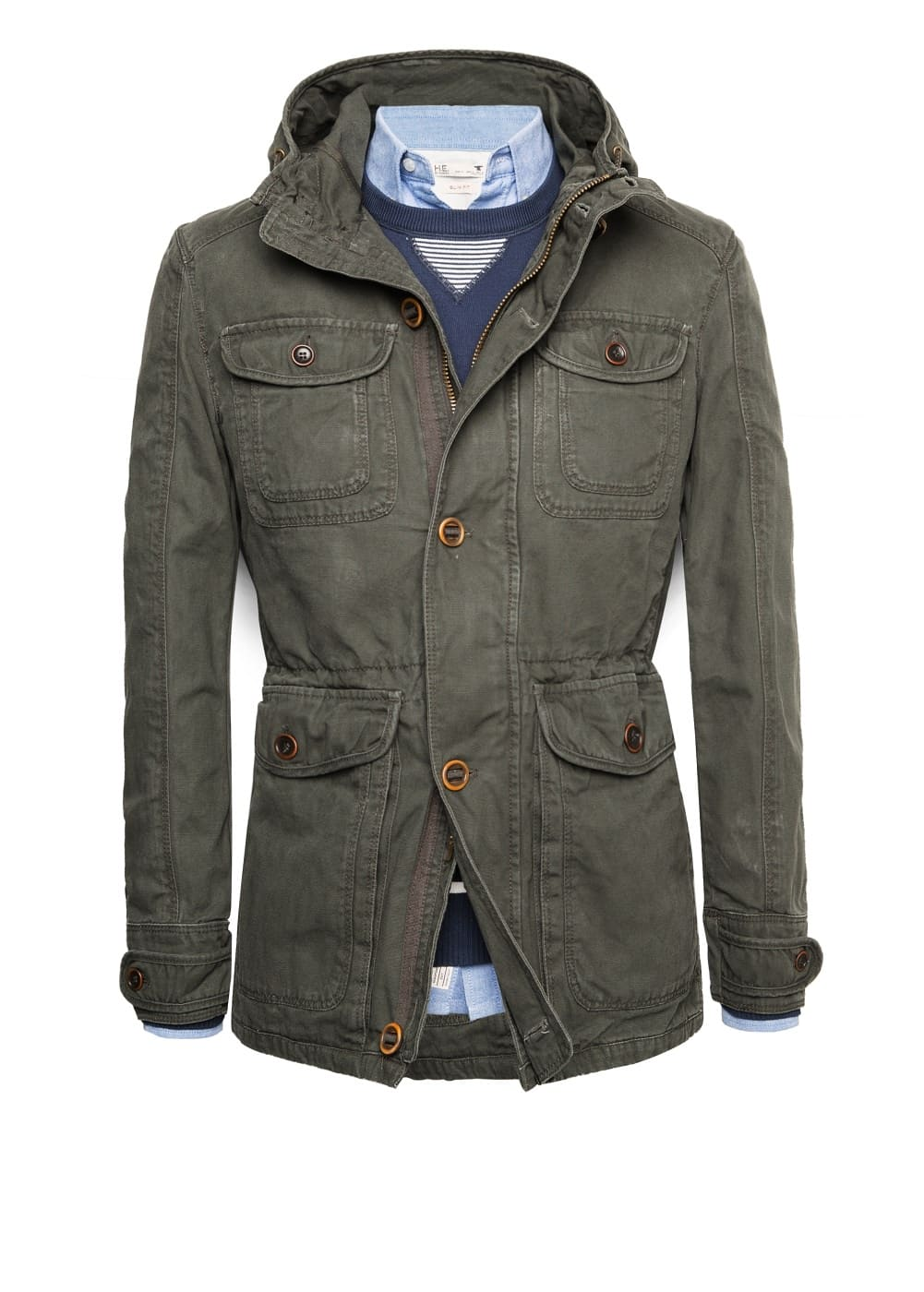Washed canvas parka | MANGO MAN