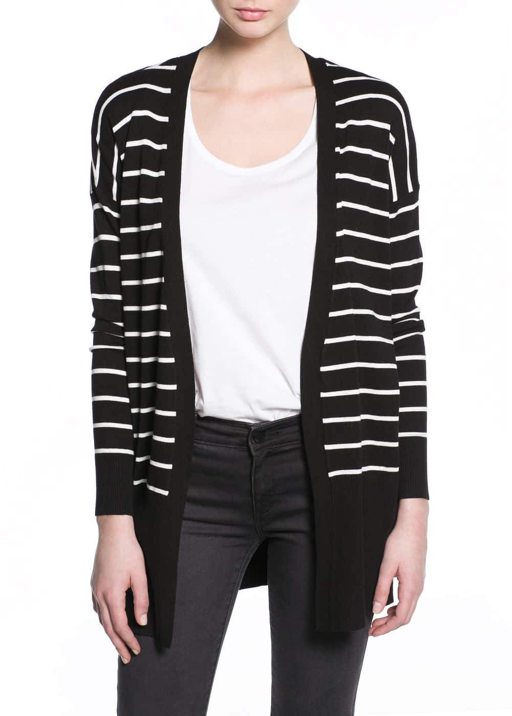Monochrome striped cardigan | MANGO