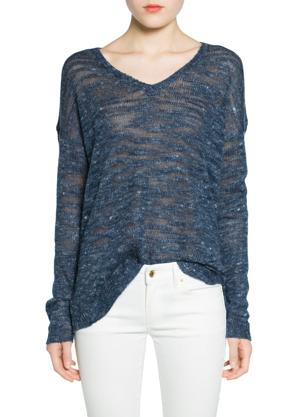 Flecked linen-blend sweater | MANGO