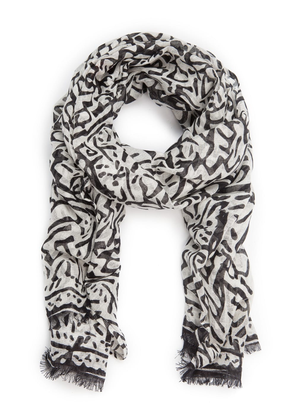 Printed linen-blend scarf