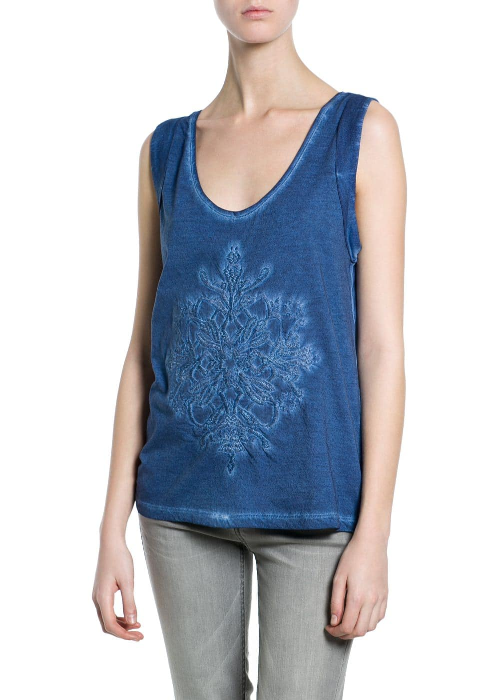 Embroidered washed t-shirt | MANGO