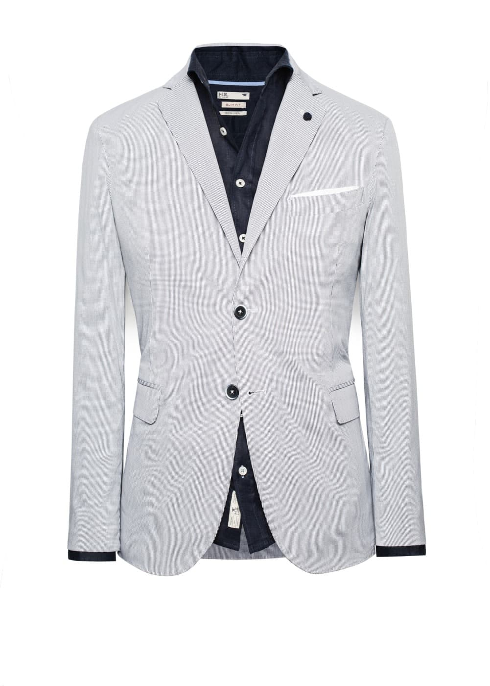 Unstructured micro check blazer