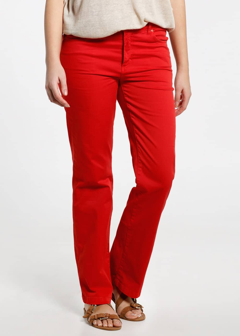 Bootcut cotton trousers