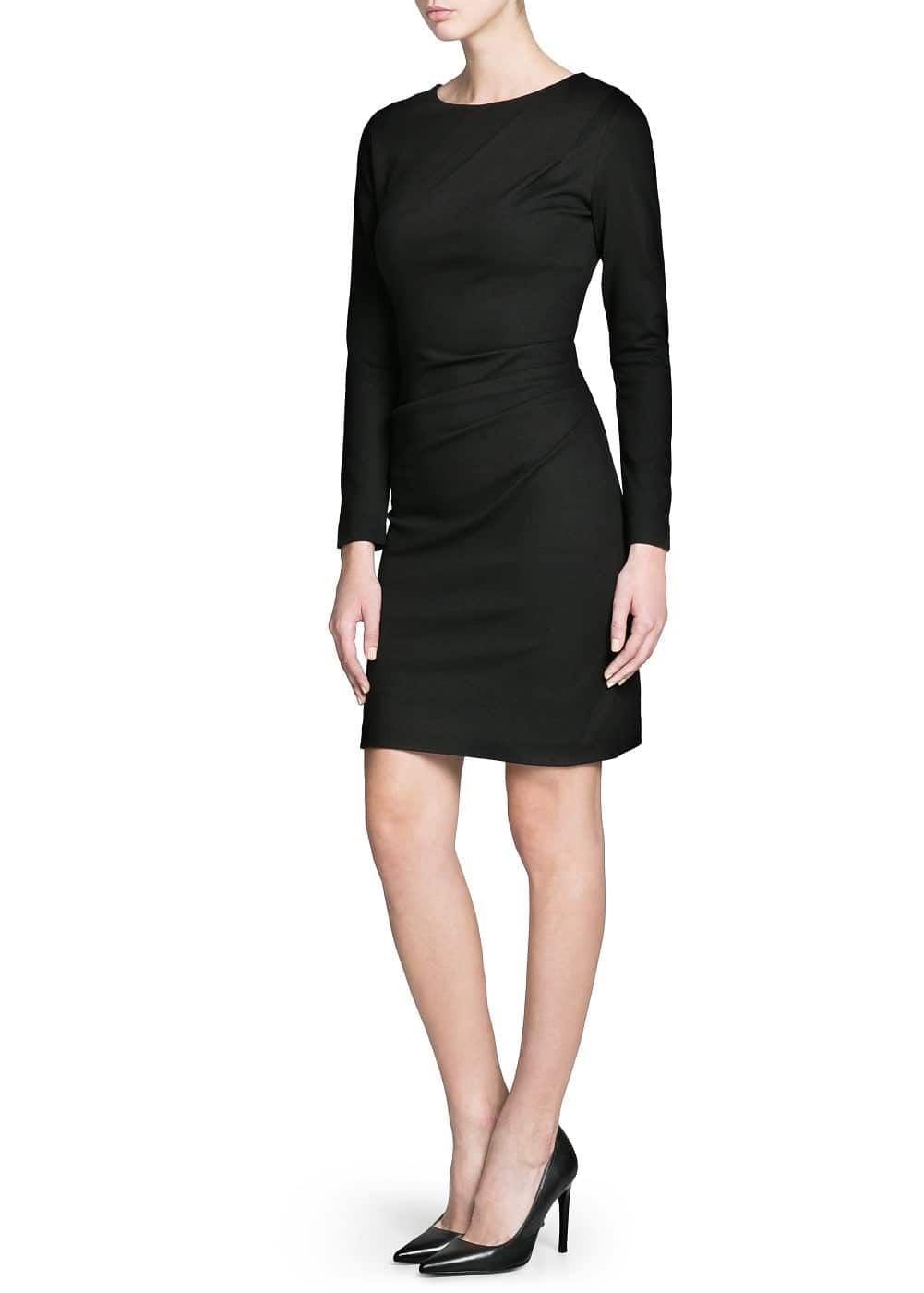 Draped side fitted dress | MANGO