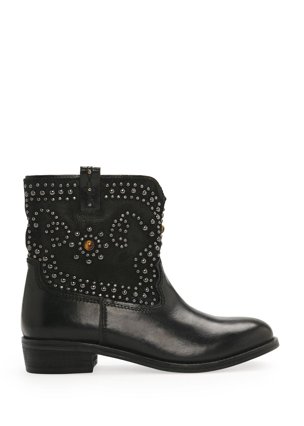 Tiger's eye leather ankle boots | MANGO