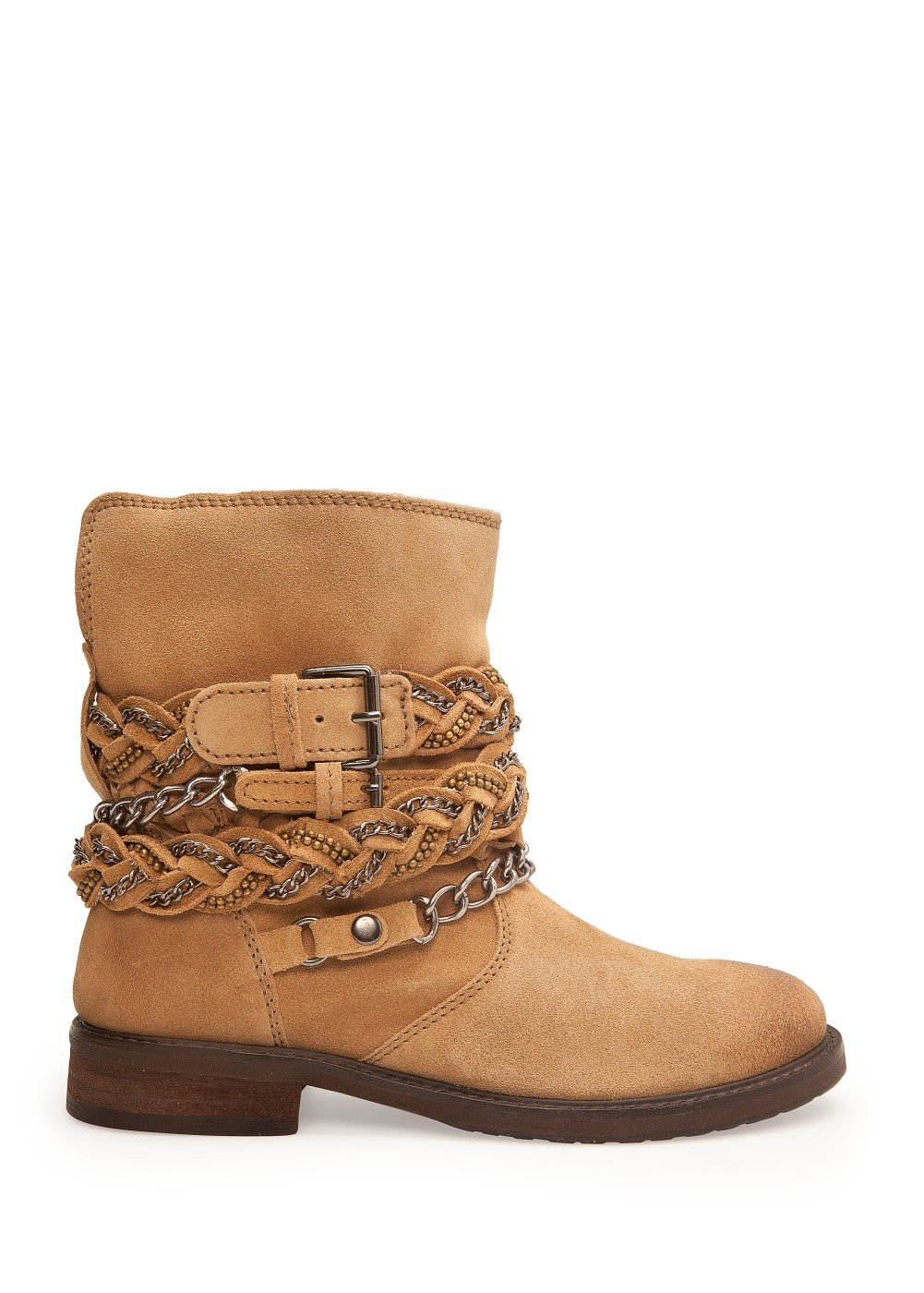Chain suede ankle boots