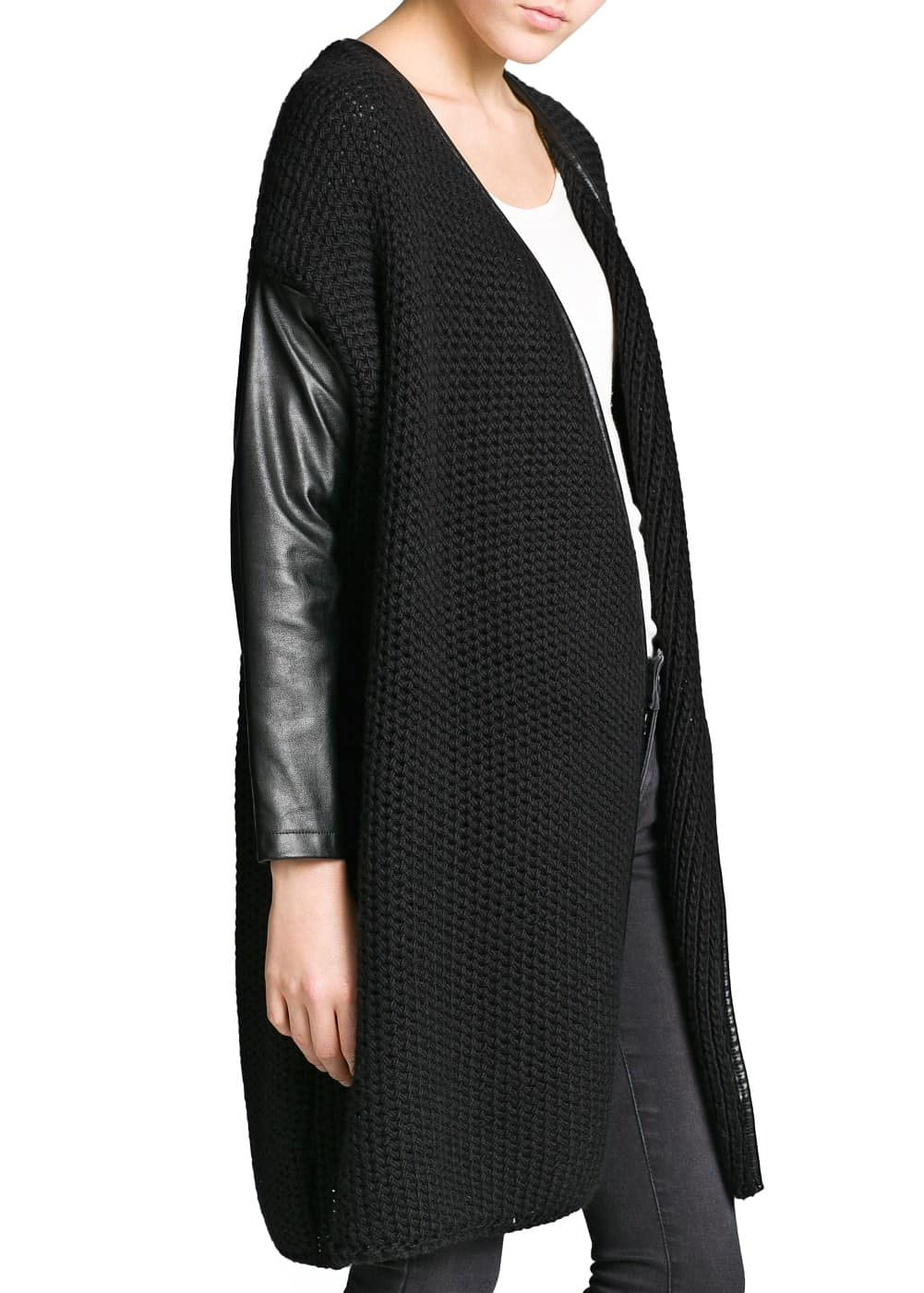 Contrast sleeve wool-blend cardigan