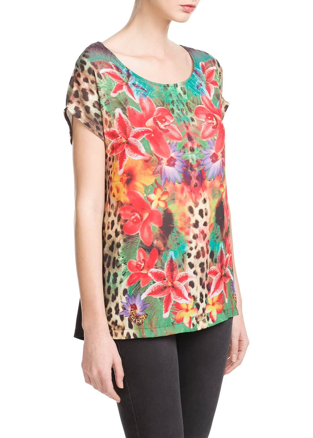 Mixed print t-shirt | MANGO