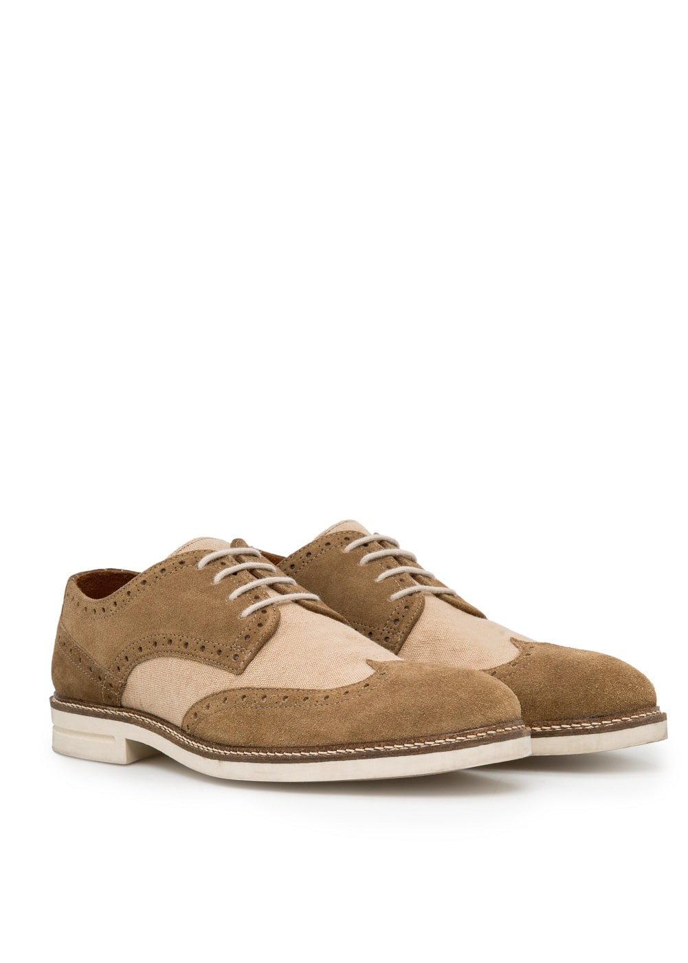 Suede and canvas brogue blucher