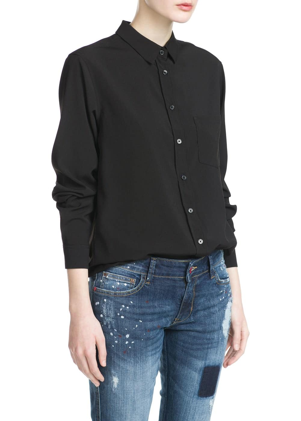 Chest-pocket flowy shirt