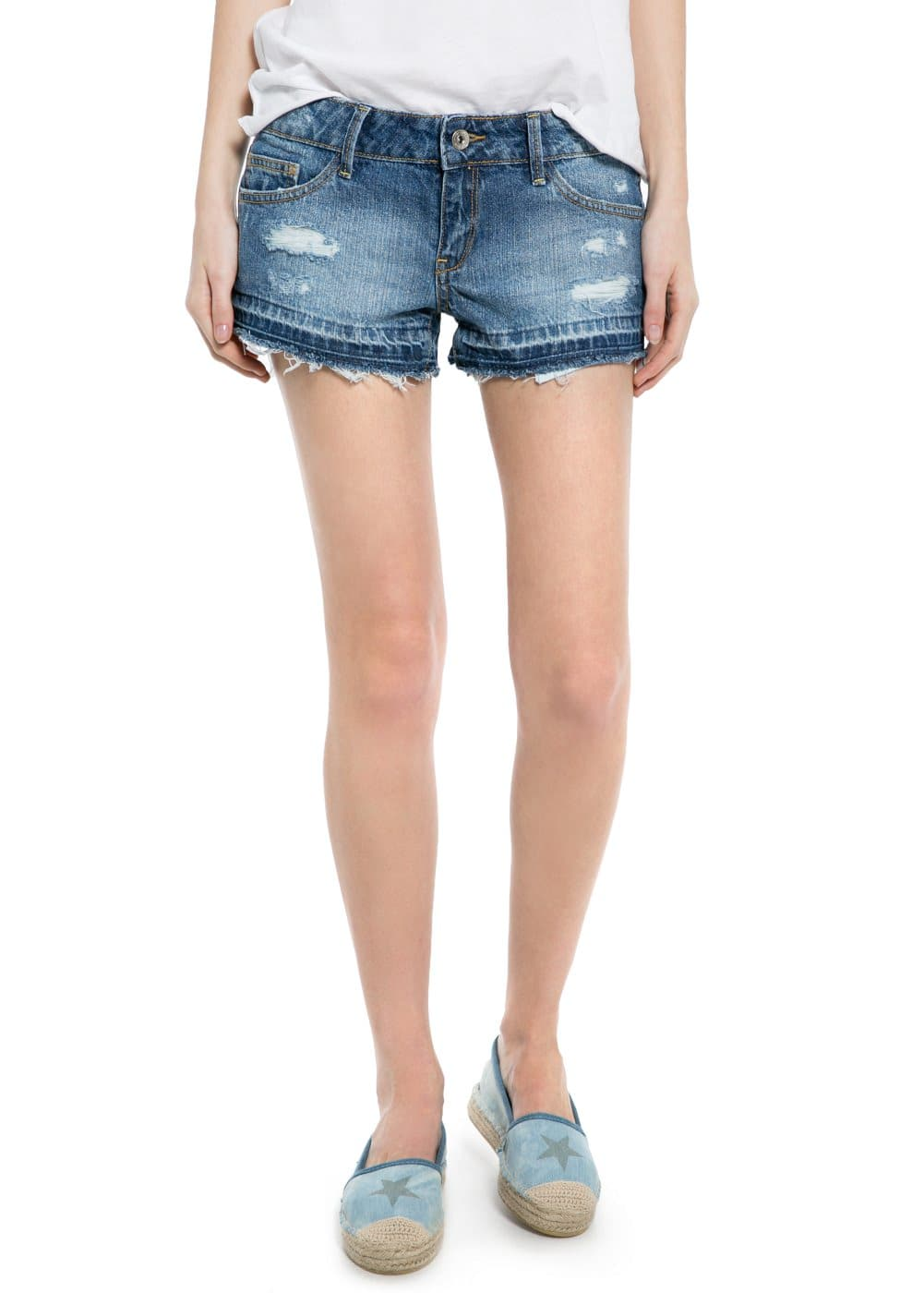 Bleached denim shorts | MANGO