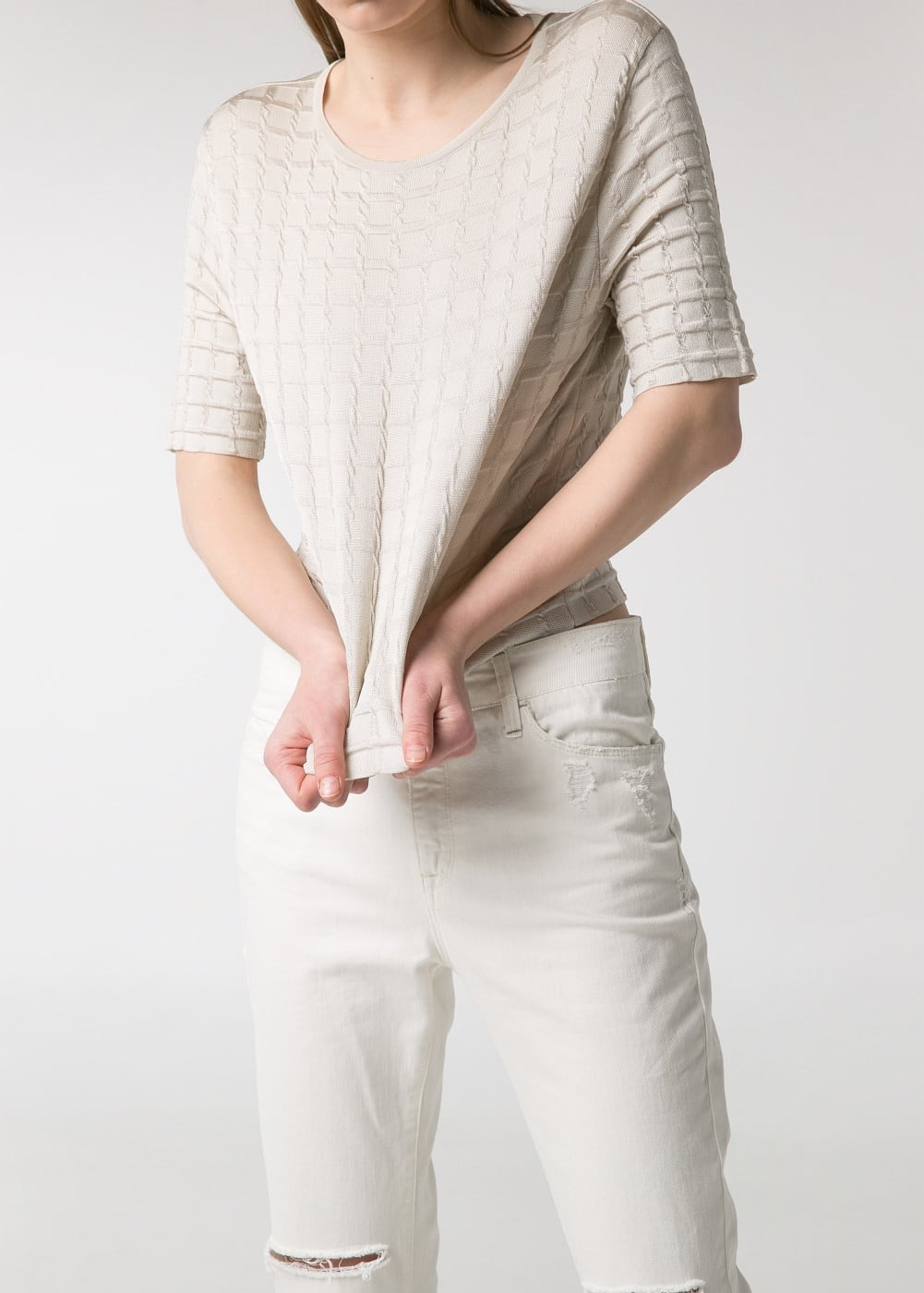 Premium - check cropped sweater | MANGO