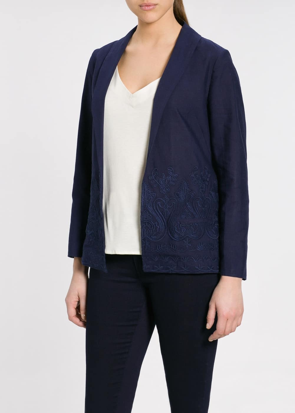 Embroidered flowy jacket