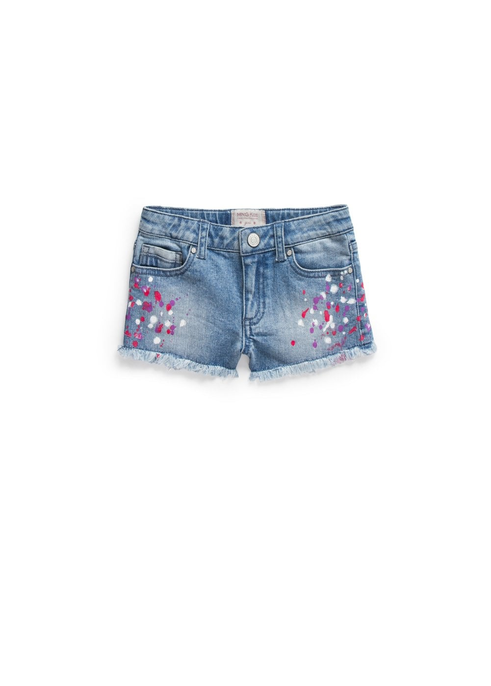Paint denim shorts