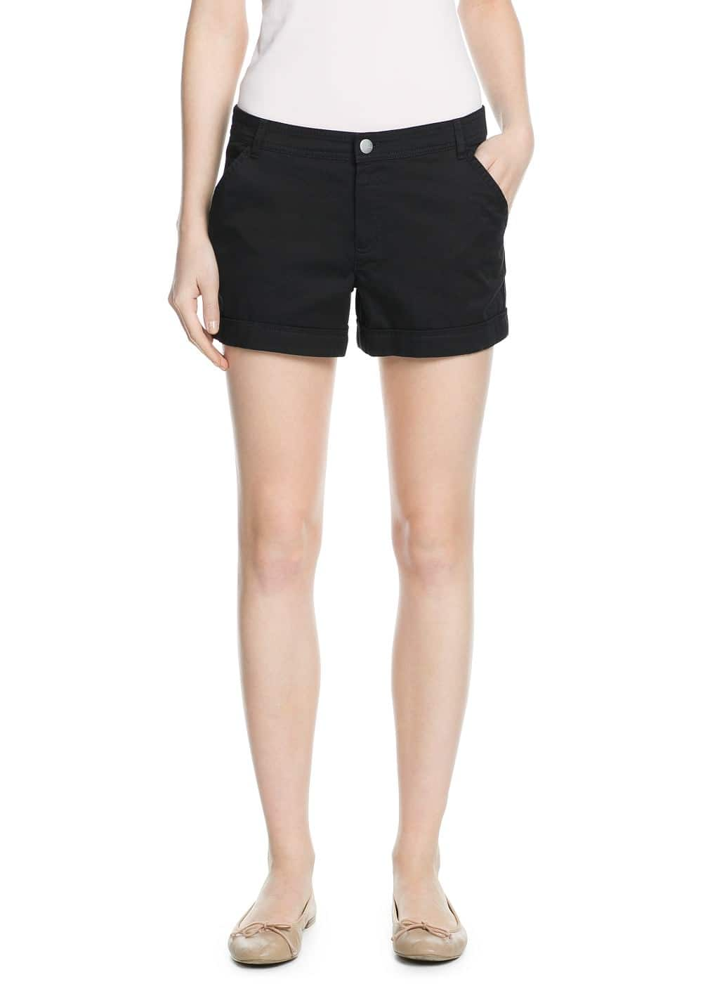 Rolled-up hem cotton shorts