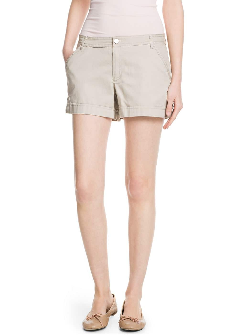 Rolled-up hem cotton shorts | MANGO