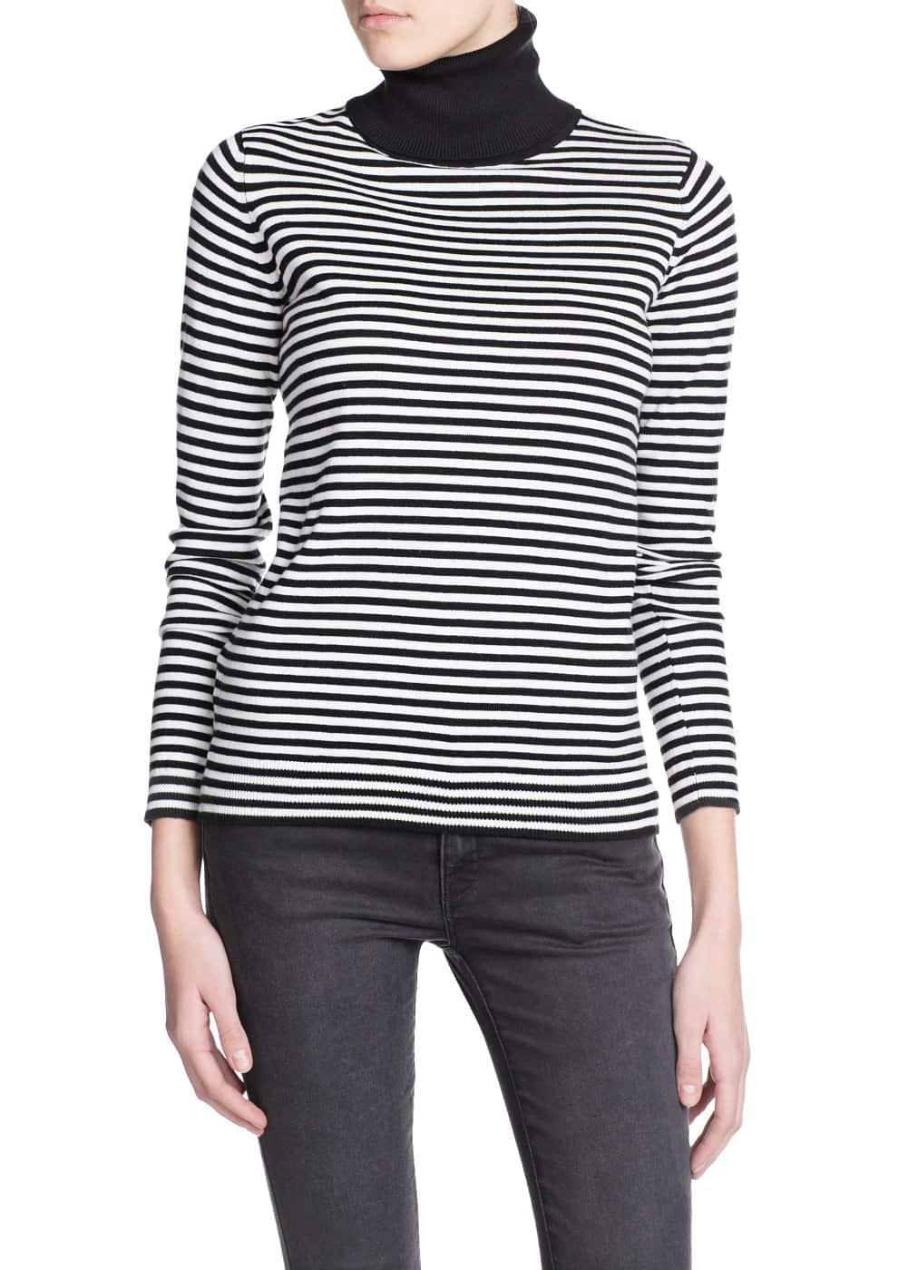 Striped turtleneck sweater | MANGO