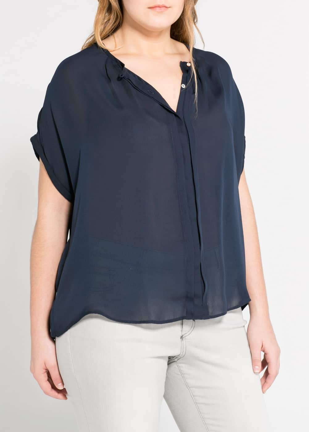 Pleated flowy blouse