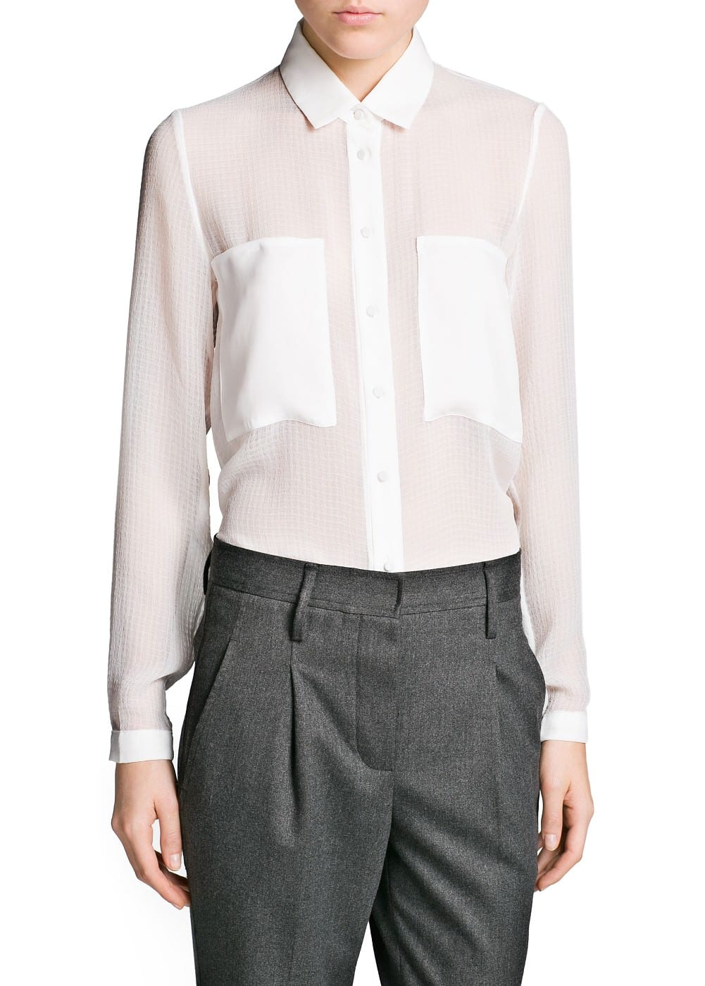 Pocket textured chiffon blouse | MANGO