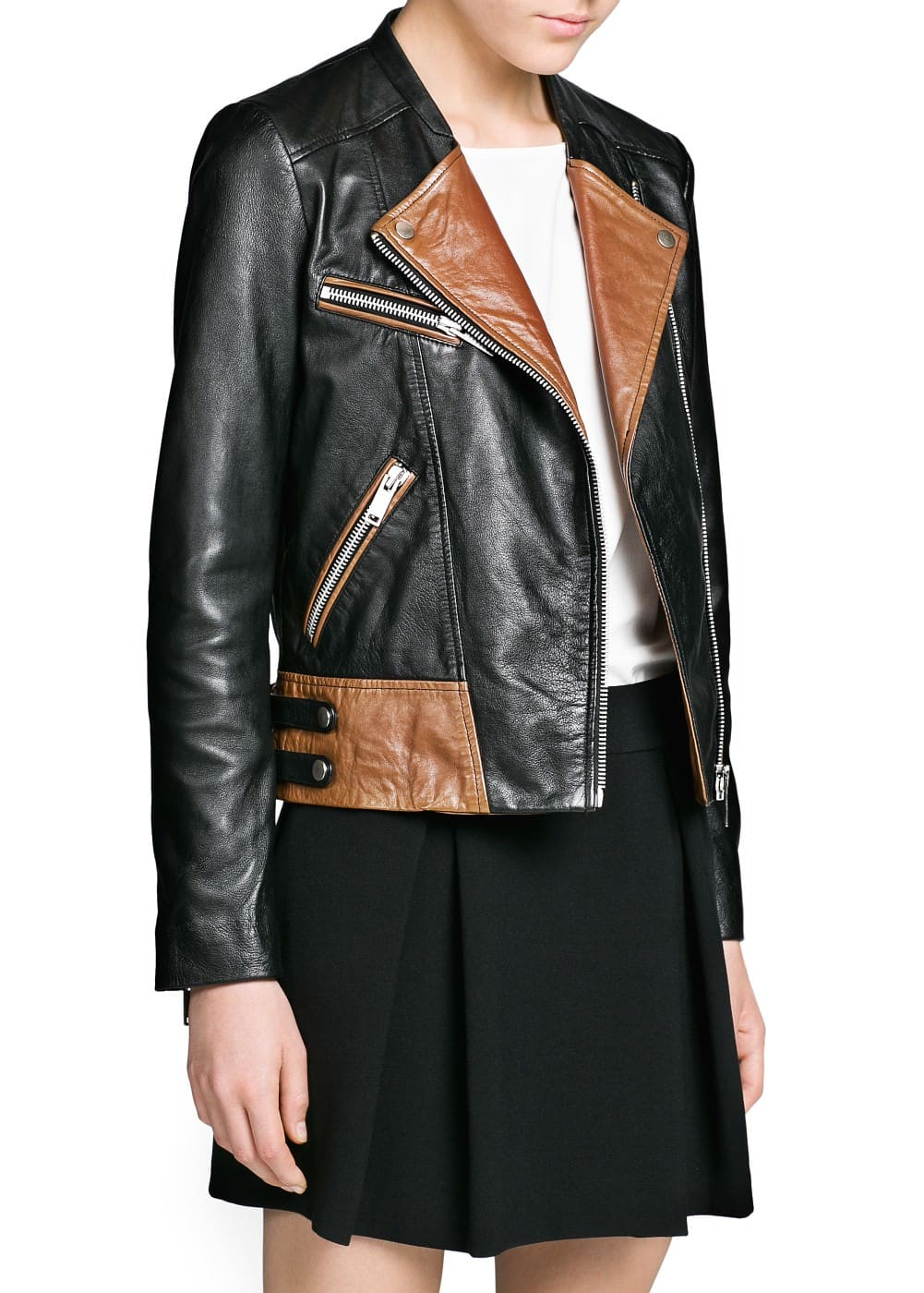 Contrast panel leather biker jacket | MANGO