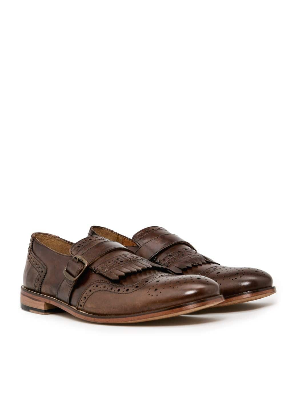 Leather monk-strap shoes | MANGO
