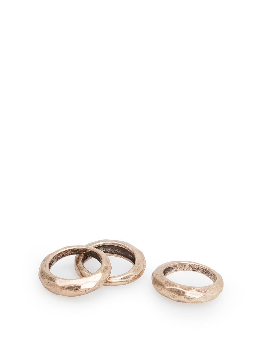 Hammered metal ring set