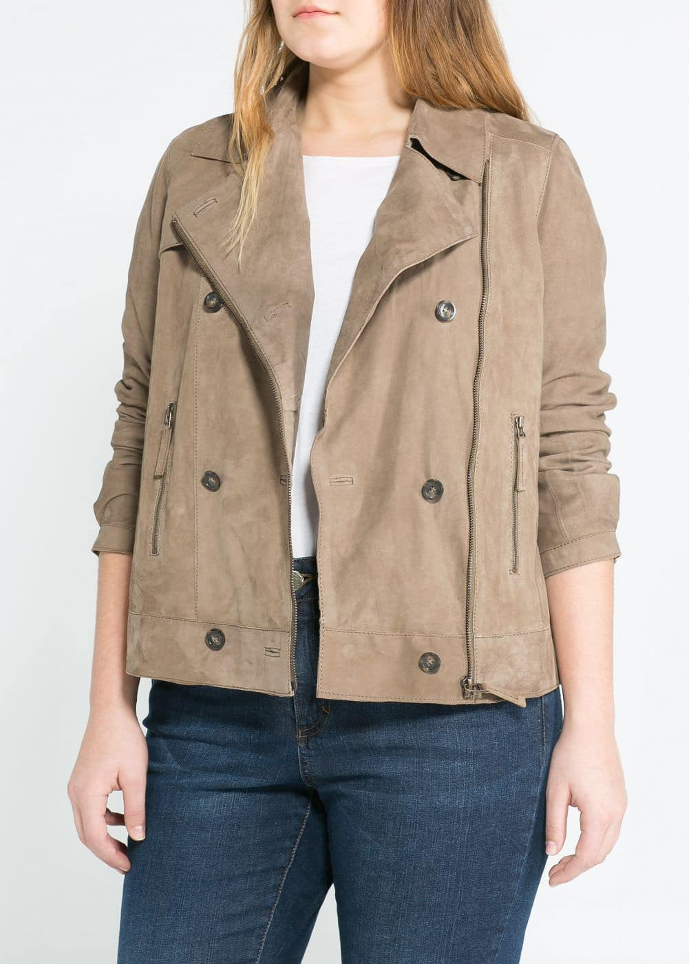 Double-breasted nubuck jacket