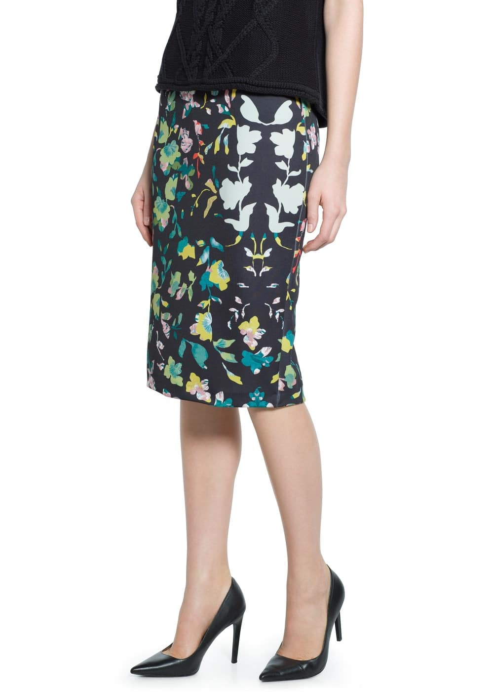Floral neoprene-effect skirt