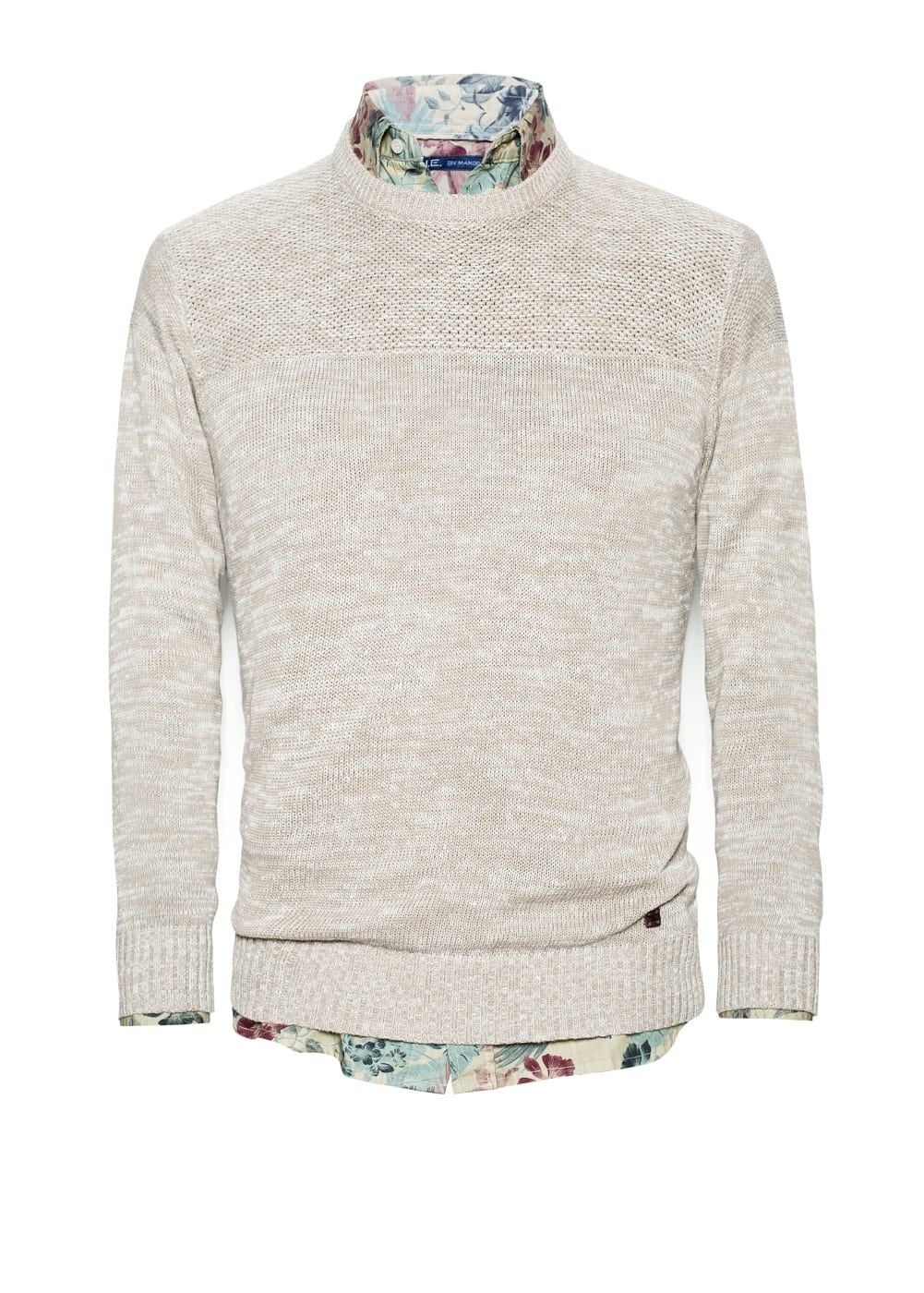 Flecked cotton linen-blend sweater