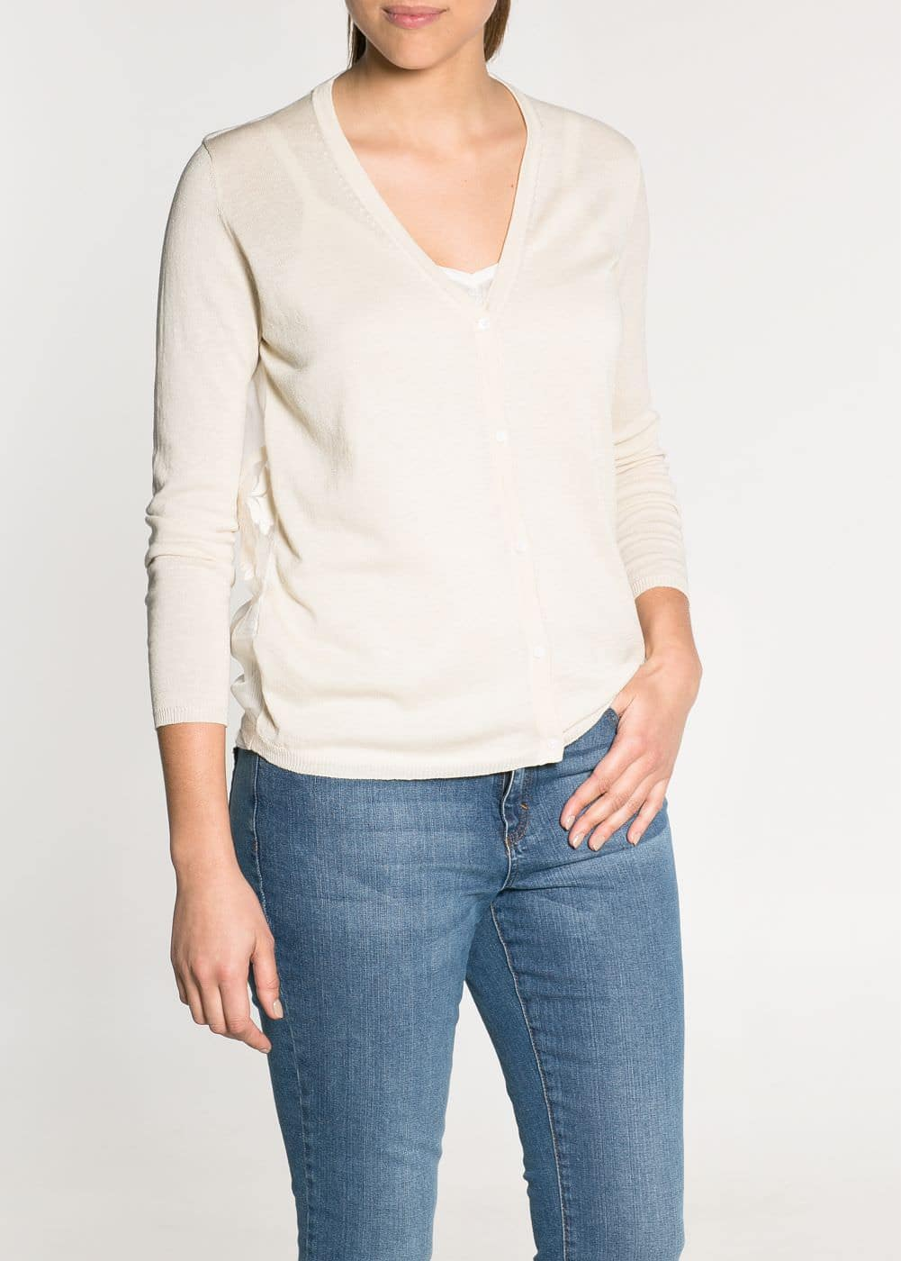 Embroidered back silk-blend sweater