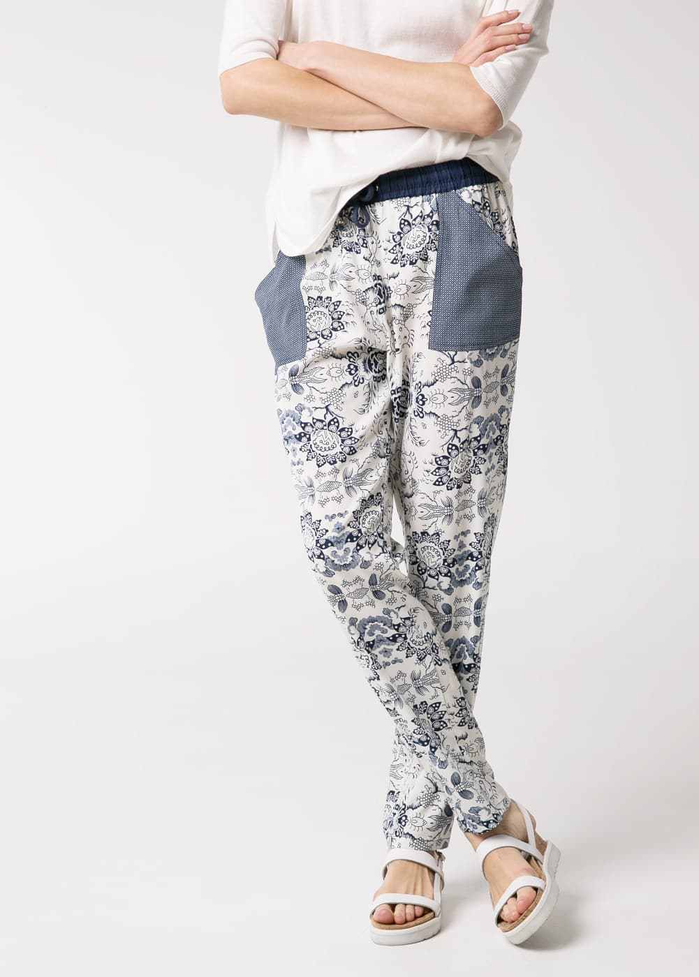 Mixed print trousers