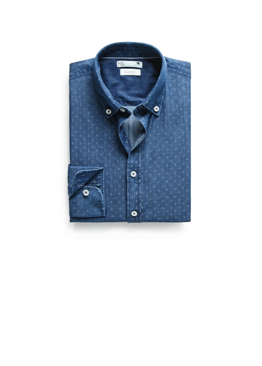 Camisa slim-fit chambray rombos