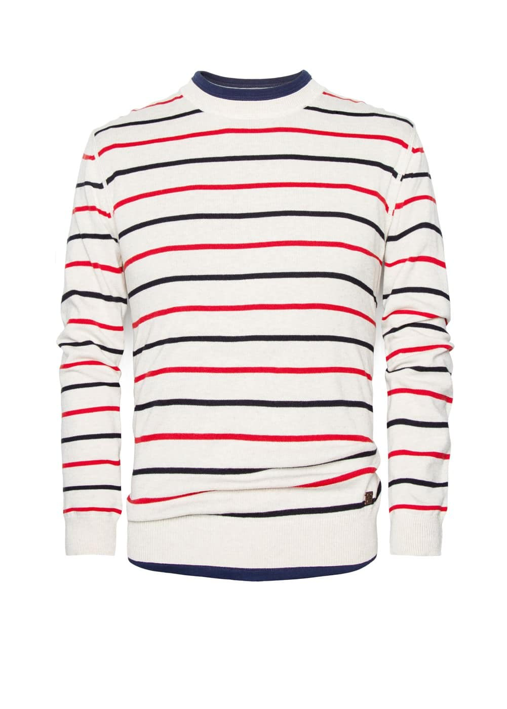 Linen cotton-blend striped sweater