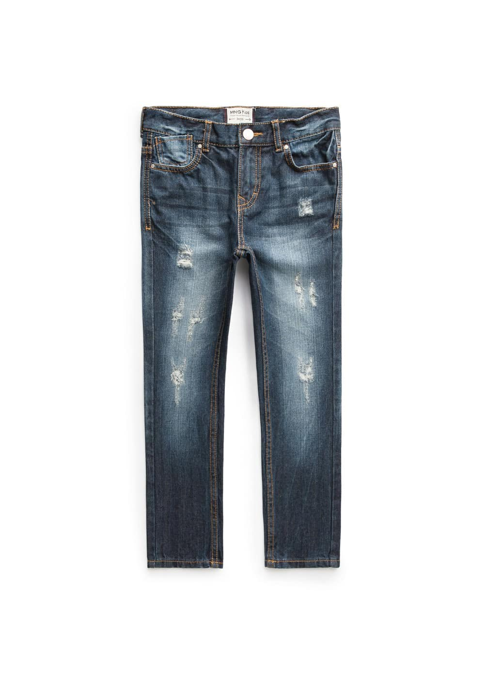 Straight-fit ripped dark jeans
