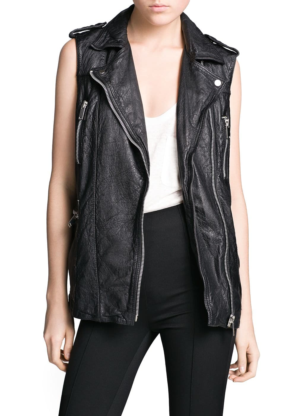 Leather biker gilet | MANGO