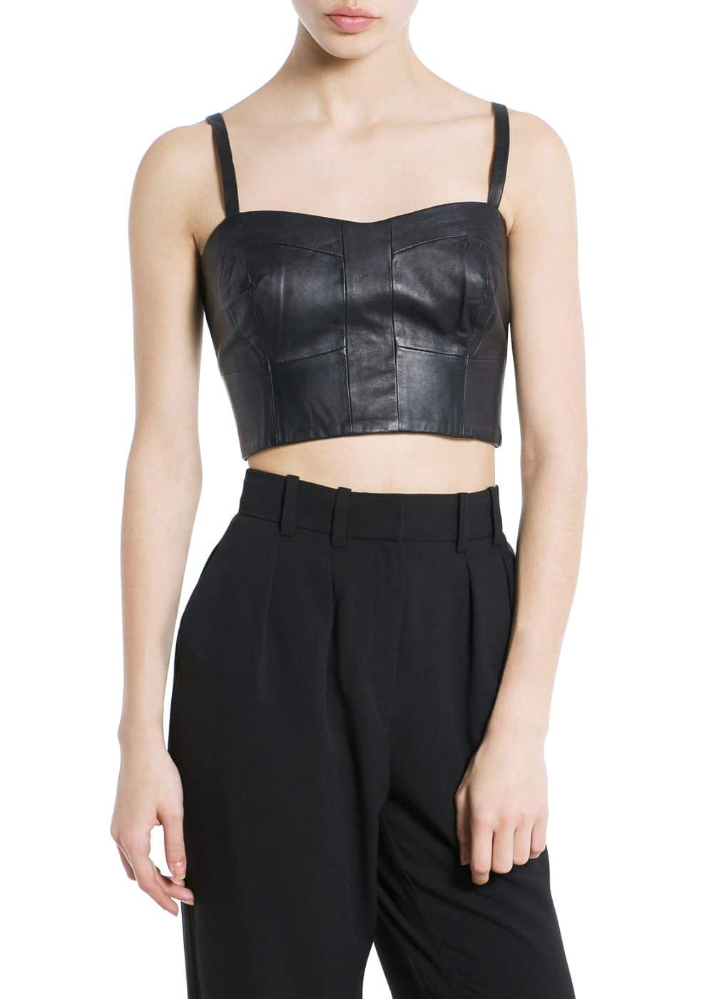 Leather cropped top