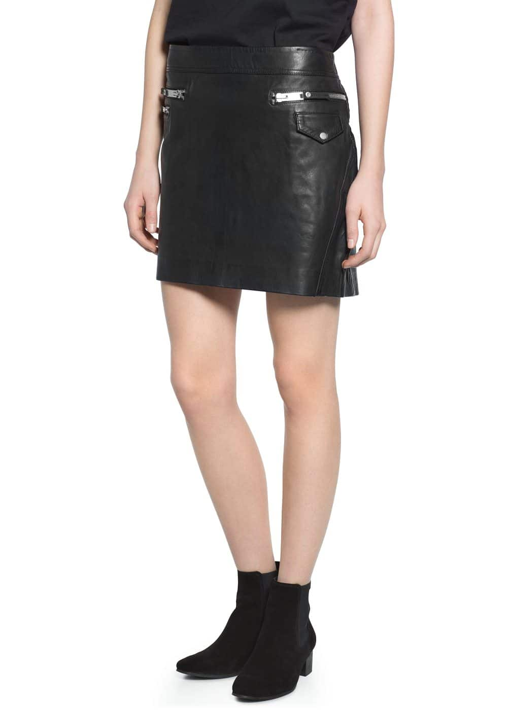 Leather biker miniskirt