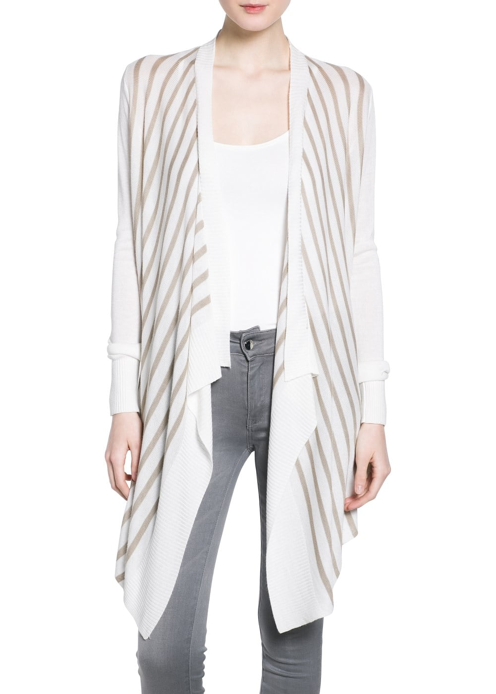 Bicolor striped cardigan | MANGO