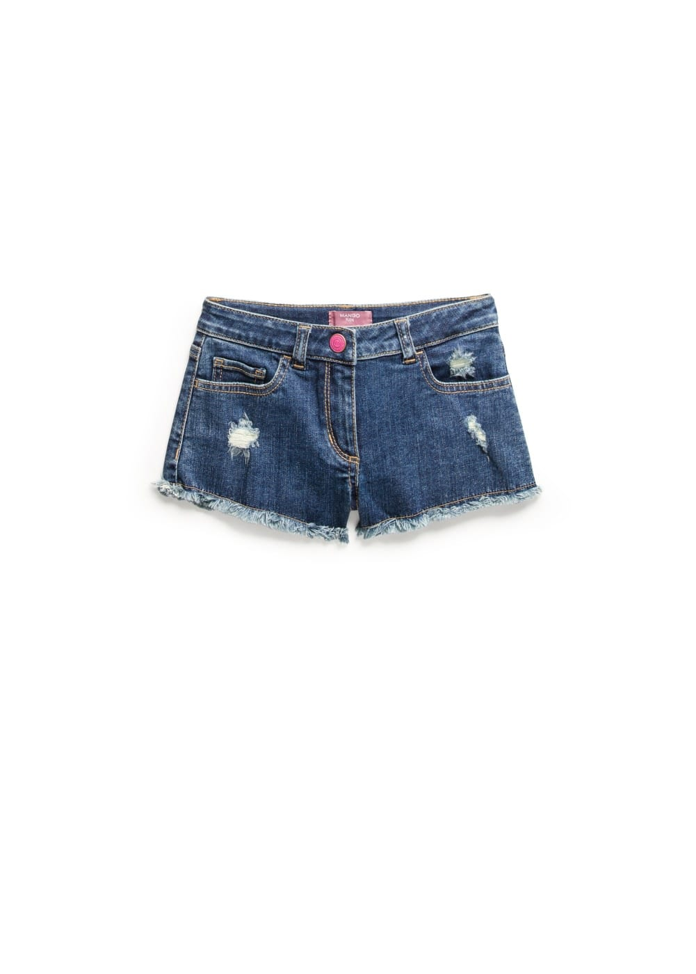 Frayed-edge denim shorts