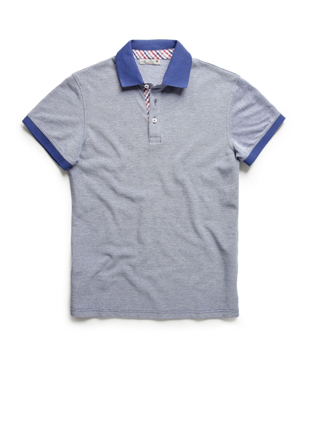 Check placket piqué polo shirt