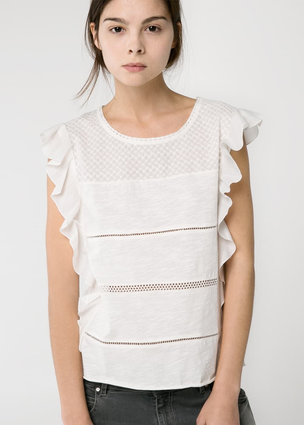 Ruffled slub t-shirt